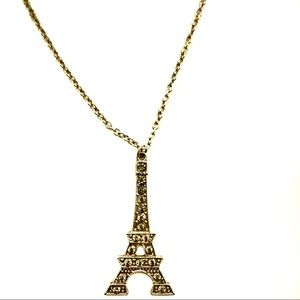 3/$8🎉Long Silver Eiffel Tower with diamonds chain